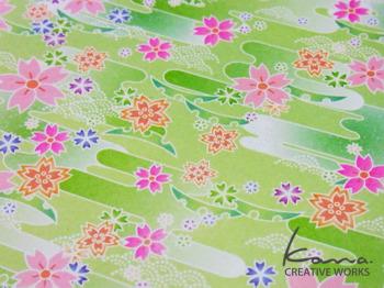 パターン 桜・黄緑ベース  ライトでポップな新感覚和柄 …というテーマで描きました。 4色分解の